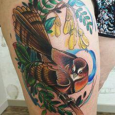 NZ themed bird flora fauna tattoo by Emma Kerr #fantail