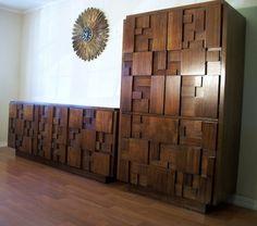 Vintage Lane Furniture Mid Century Modern Cubist Mosaic Line ...