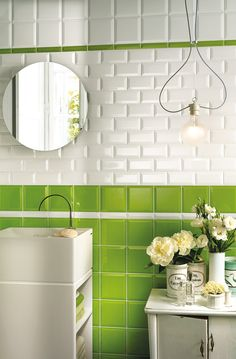 Lime green traditional bathroom design, Victorian style bevelled tiles. Porthole mirror.