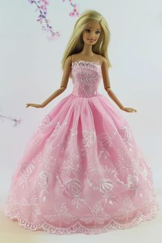 Pink Fashion Princess Party Dress Clothes/Gown For Barbie Doll Su27…