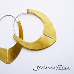 Brass Earrings With 925 Silver by YolandaTzina on Etsy