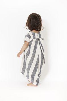 Black Crane Kids Pleated Cocoon Dress