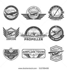 Airplane vintage isolated label set vector illustration. Wind riders show and best pilot symbols. Airplane academy and flying club sign. Air travel and plane tours logo. Propeller aircraft concept