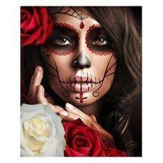Raquel by Daniel Esparza Sexy Mexican Tattoo Sugar Skull Mask Art Print