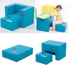 Mini Little Blue Couch Daughter Birthday Gift Furniture Kids Folding Block Sofa #DESIGNSKIN