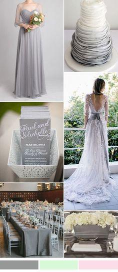 grey wedding color ideas and bridesmaid dresses trends