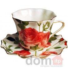 Porcelain Cup and Saucer - Set of 6 - Rose. Filizanka ze Spodkiem. Designed in Poland. Teacup Tea Cup