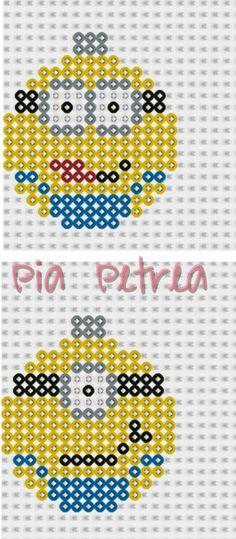 Christmas Minion bauble ornament perler pattern by Pia Petrea