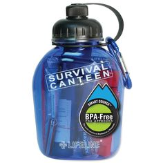 This water canteen is packed with everything you'd need to survive out in the wilderness. A great gift for the outdoorsy person on your Christmas list or any one who might need a packable set of essentials. Emergency Preparation, Survival Prepping, Survival Skills, Survival Gear, Survival Stuff, Survival Quotes, Wilderness Survival, Water Canteen, Camping First Aid Kit