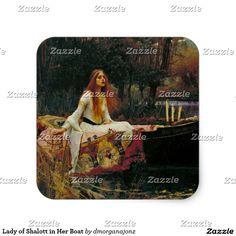 Lady of Shalott in Her Boat Square Sticker https://www.zazzle.com/z/33ueq