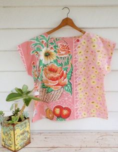 Upcycled Womens Shirt Top Blouse Vintage Linen Tea Towel Pink Red Rose Floral…