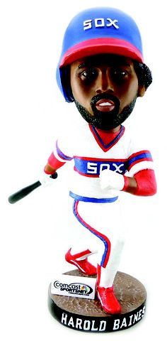 Harold Baines bobblehead.  Tweet your re-pin to the White Sox twitter and hashtag #SoxSocial.