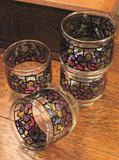 Libbey Accent Glasses On The Rocks Stained by ToadSuckTreasures