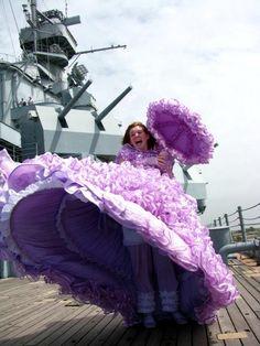 An Azalea Trail Maid on the deck of the USS Alabama in Mobile, Alabama.