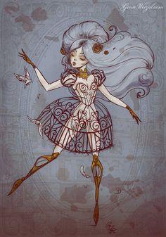 Poster Birdcage Illustration Art Steampunk by BlackUnicornShop