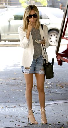 Seen on Celebrity Style Guide: Ashley Tisdale wore the Rag & Bone Boyfriend Jean Shorts in Rebel as she stops by Nine Zero One this afternoon and looked like she had a lot on her mind as she waited for her car at the valet in West Hollywood, CA on June 17  Get Her Shoes Here: http://rstyle.me/~295VC