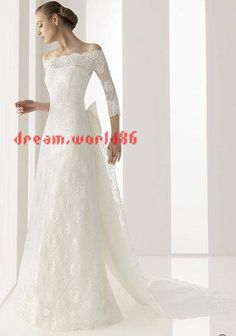High Quality Lace Long Sleeves Bow Wedding Dress Bridal Gown