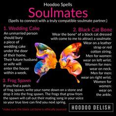 ~*~ HOODOO SPELLS: SOULMATES ~*~ Are you ready to find lasting love? These three simple spells are a wonderful and simple way to draw a… Real Love Spells, Powerful Love Spells, Witch Spell Book, Witchcraft Spell Books, Spelling Online, Soulmate Connection, Hoodoo Spells, Wiccan, Voodoo Hoodoo