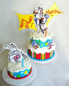 Dr Suess' Cat in the Hat & Fish Smash Cake for Matthew's first Birthday!  www.skysthelimitcake.com