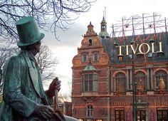 Andersen statue across the Tivoli gardens, Copehagen.