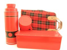 Vintage Aladdin Economy Lunch Set with Quart Thermos Bottle, Red Lunch Box, and Red and Black Plaid Carrying Case, Made in Nashville, TN USA