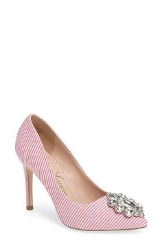 ac6e05ed303 Summer-chic meets late night glamour in these stunning pinstripe  embellished pumps. Women s Pumps