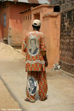 Paul Biya electoral print made into a suit, c.2009 (Cameroon)
