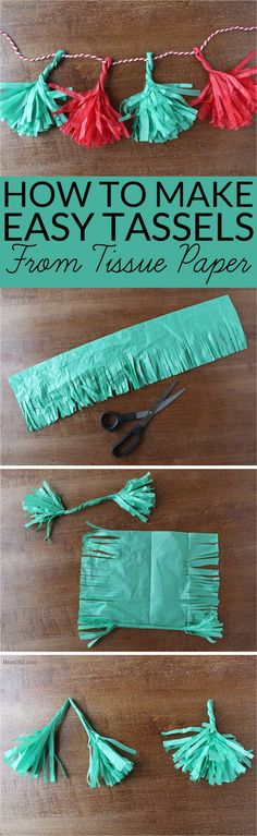 How to Make Tassels from Tissue Paper - Make your own free eco-friendly paper tassels for garlands and gift tie-ons using just tissue paper and scissors. They are a huge DIY trend and they are free by reusing tissue paper! #upcycled #tassels #garland