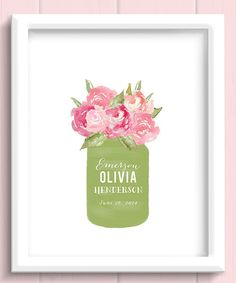Look at this Handmade by Jennifer Chase Pink Flower Bouquet Personalized Watercolor Print on #zulily today!