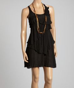 Another great find on #zulily! Black Ruffle Racerback Dress & Necklace by Paradise USA Fashion #zulilyfinds
