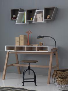 desk DYLAN Drafting Desk, Kids And Parenting, Woodworking Projects, Kids Room, Room Decor, Shelves, Interior Design, House, Furniture