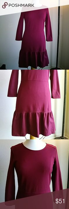 Juicy Couture Wine Dress EUC. Loved 💕 fit & flare. 3/4 sleeves. Gold zipper. Perfect for date night or holidays. Stretchable. Machine washable. 72% Viscose 24% Polyamide 4% Elastane Juicy Couture Dresses
