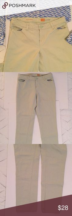 """Anthropologie pale mint green cotton/linen pants Anthropologie Pilcro and the letterpress. Cotton/ linen pale mint green cropped pants. Cute blue & white gingham lined pockets. Size 28. I am 5' 8"""" and they hit about 2 inches above my ankle. Excellent, flawless condition. Very nice. Anthropologie Pants Ankle & Cropped"""
