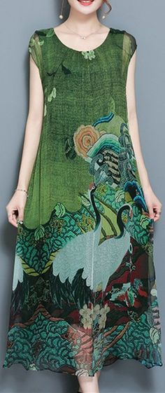 46% OFF ONLY US$33.97  Gracila Women Vintage Printed Short Sleeve Mid-Long Dresses