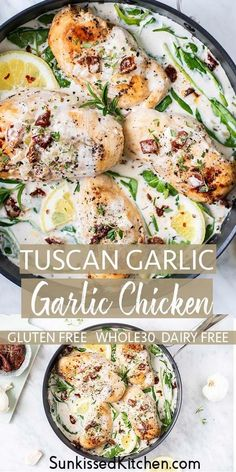 Creamy Tuscan Garlic Chicken Tuscan Chicken / A chicken recipe the whole family will love! Creamy Tuscan Garlic Chicken made with sun dried tomatoes and lots of herbs. Paleo Recipes, Healthy Dinner Recipes, Cooking Recipes, Dessert Recipes, Free Recipes, Breakfast Recipes, Paleo Whole 30, Whole 30 Recipes, Tartiflette Recipe