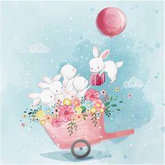 58 Best Ideas For Baby Wallpaper Pattern Children Illustration Inspiration, Pattern Illustration, Watercolor Illustration, Illustration Animals, Bunny Art, Cute Bunny, Baby Wallpaper, Pattern Wallpaper, Animal Illustrations