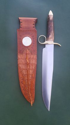 Tombstone bowie knife and custom croc sheath. by PerfectLeatherCrafts on Etsy https://www.etsy.com/listing/546463646/tombstone-bowie-knife-and-custom-croc