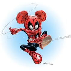 Spider-Mouse by Clayton Crain Spiderman Mickey mouse mash up Mickey Mouse Art, Mickey Mouse Wallpaper, Mickey Mouse And Friends, Disney Wallpaper, Walt Disney, Disney Art, Disney Images, Disney Pictures, Marvel Comics
