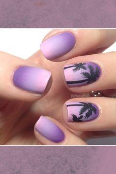 Purple Ombre Palm Tree Nails Great for Summer - Nagel Kunst Purple Nail Art, Purple Nail Designs, Cute Nail Designs, Purple Ombre, Beach Nail Designs, Pretty Designs, Cute Acrylic Nails, Cute Nails, Acrylic Art