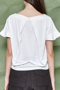 White Jersey Draping on the Back - White Top- Women Top - Women Jersey - Free Shipping