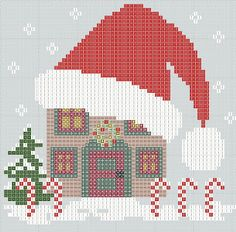 Santa hat cross stitch Freebies (there are TONS of freebies on this site!)