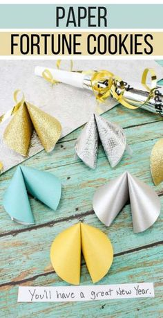 This paper fortune cookies craft will make a fun favor and decoration for your New Years Eve party! Fill the paper fortune cookies with fun predictions for the New Year for your guests. Crafts For Seniors, Paper Crafts For Kids, Elderly Crafts, New Year's Eve Crafts, Holiday Crafts, Christmas Crafts, Holiday Decor, Origami, New Year's Eve Activities