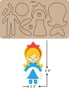 new Girl, princess Wooden Die Thick Cutting Dies Scrapbooking Easy Felt Crafts, Foam Crafts, Felt Diy, Felt Patterns, Applique Patterns, Stuffed Toys Patterns, Fabric Dolls, Paper Dolls, Card In A Box