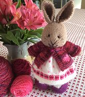 This little bunny dress was knit with a cast on of 96 stitches. I used a long tail cast on and knit 4 rows of garter stitch on straight needles to create three garter ridges, then began knitting in...