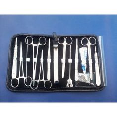"20 US Military Field Medic Inst. Kit. Probe double Ended. Scalple Handel Number 4. Mosqutio Forceps 5"" Straight 01 Pieces. Mosqutio Forceps 5"" Curved. Kelly Forcepts. 5.5"" Straight. Kelly Forceps. 5.5"" curved. Butterfly Grooved Director. Mayo Hegar Needle Holder 14cm 01 Pieces. operating Scissors Sharp/blunt Straight 5.5"". operating Scissors Sharp/blunt Curved 5.5"". Thumb Forceps 5"" 01 Pieces. Tissue forceps toothed 1x2 5"". Chain Hook. Scap.Blades # 22 One of each."