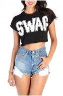 Swag Print Crop Top - Black