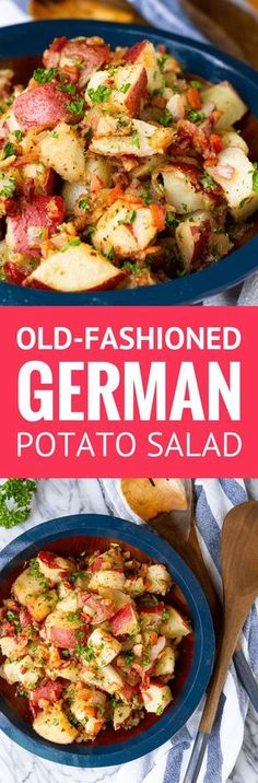 Old-Fashioned Hot German Potato Salad -- this German potato salad recipe makes an ideal summer side dish. Guests will flip for the tangy coarse Dijon apple cider vinegar dressing, along with the crispy fried bacon bits. Serve it hot, warm, or cold at your Side Dish Recipes, Pork Recipes, Salad Recipes, Cooking Recipes, Drink Recipes, Authentic German Potato Salad, German Potatoes, Easy Potato Salad, Soup And Salad