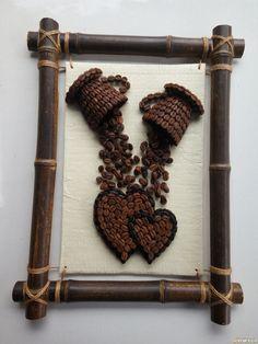 Jute Crafts, Diy Home Crafts, Diy Arts And Crafts, Coffee Bean Art, Coffee Beans, Rock Crafts, Craft Stick Crafts, Cafe Art, Coffee Crafts