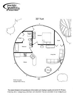 Def needs a Window inthe bathroom. Would make the main sleeping area lofted for evenmore space. yurt floor plan
