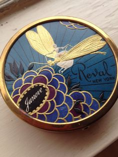 ART DECO DRAGONFLY Vintage Powder Compact, Powder Never Used